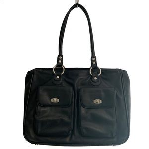 Franklin Covey Black Leather Laptop Tote Bag